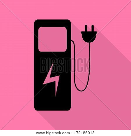 Electric car charging station sign. Black icon with flat style shadow path on pink background.