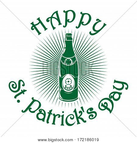 Beer bottle with the image of clover. St. Patrick's Day celebration symbol. Vector illustration isolated on white background