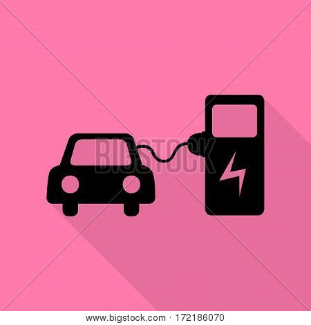 Electric car battery charging sign. Black icon with flat style shadow path on pink background.