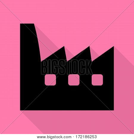 Factory sign illustration. Black icon with flat style shadow path on pink background.