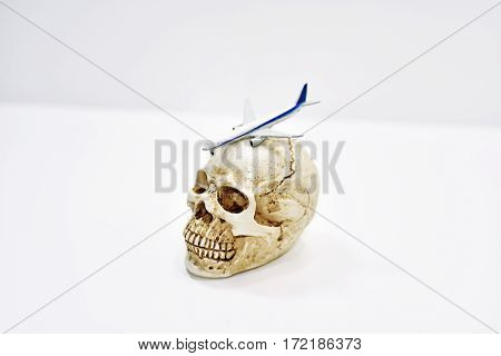 Abstract composition of flying fears. Human skull with plain on it.