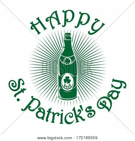 Bottle of beer on the rays background. Glass of beer isolated logo. Vector illustration