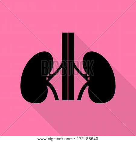 Human kidneys sign. Black icon with flat style shadow path on pink background.