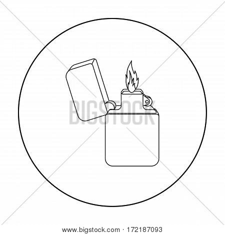 Lighter icon in outline style isolated on white background. Light source symbol vector illustration