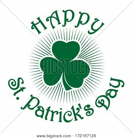 Happy St. Patrick's Day. Clover icon isolated on white background. St. Patrick's Day celebration symbol.