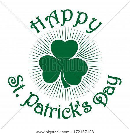 Happy St. Patrick's Day. Clover icon isolated on white background. St. Patrick's Day celebration symbol.