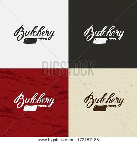 Butcher Shop icon, vector Butcher Shop logo, isolated Butcher Shop emblem. Cow face and knife retro vector illustration. On white, black, crafting and meat background