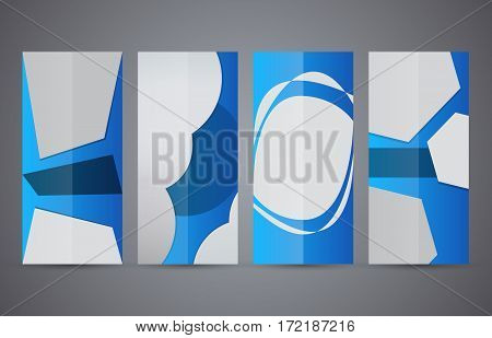 Set Vertical Banners Blue Background06