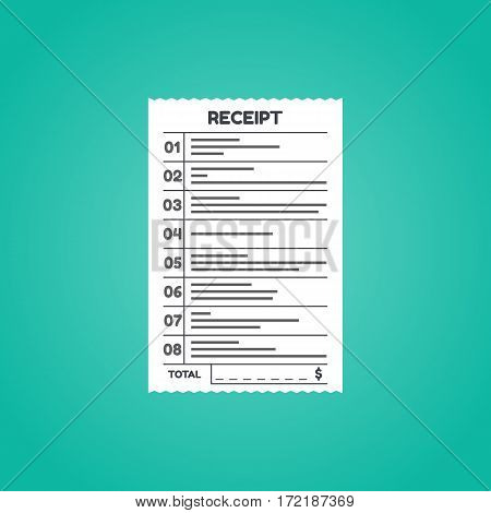 Receipt icon in a flat style isolated on a colored background. Invoice sign. Bill atm template or restaurant paper financial check. Concept Paper receipts icons