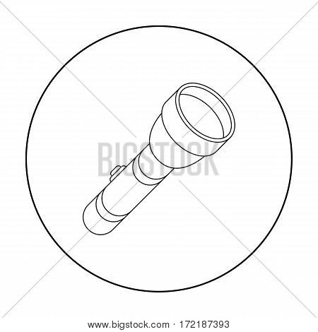 Flashlight icon in outline style isolated on white background. Light source symbol vector illustration
