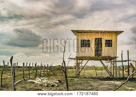 Traditional cane house construction located in Engabaoa small fisher town located in Ecuador