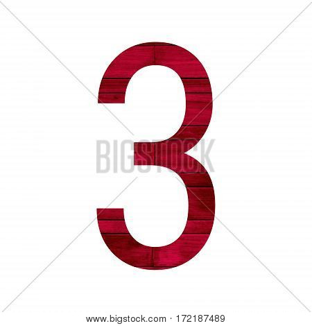 Number 3 (three) with red wood texture background.