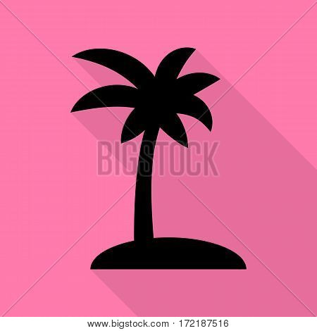 Coconut palm tree sign. Black icon with flat style shadow path on pink background.