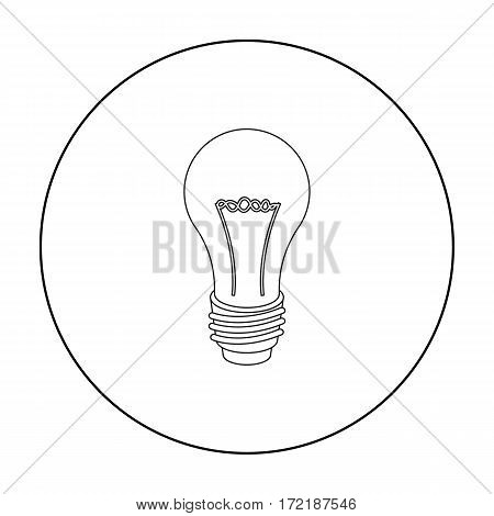 Lightbulb icon in outline style isolated on white background. Light source symbol vector illustration