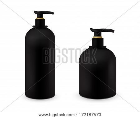 Set of Jar with liquid soap for your logo and design is easy to change colors. Realistic black cosmetic container for soap cream, lotion. Mock up bottle