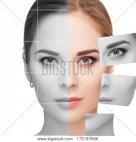 Face made of many different colorless and colored portraits. Plastic surgery and spa concept.