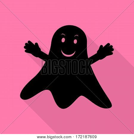Ghost isolated sign. Black icon with flat style shadow path on pink background.