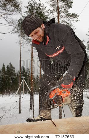 Leningrad Region Russia - February 2 2010: Chainsaw for cutting wood before sawdust and shavings Joiner is cutting a log tree trunk with chain saw.