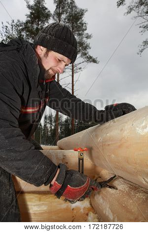 Leningrad Region Russia - February 2 2010: Carpenter makes marks timber surface using logs scribing tool