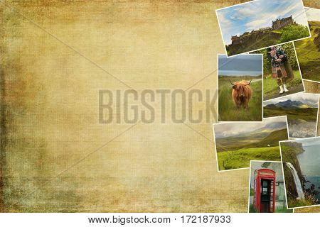 Collage of images from famous location in Scotland