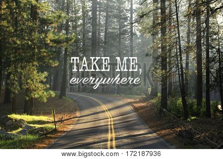 Inspirational quote take me, everywhere on a picture with ray of light passing through the trees on the road early in the morning