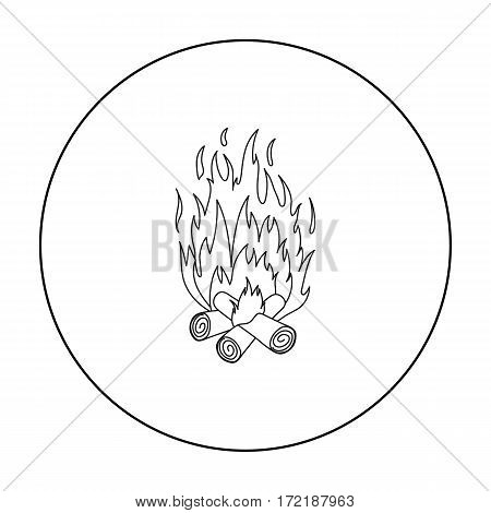 Campfire icon in outline style isolated on white background. Light source symbol vector illustration