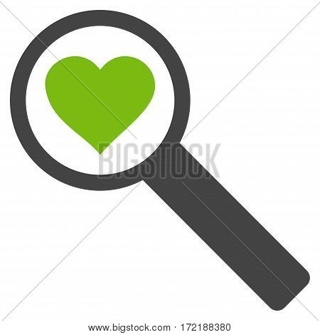 Find Love flat icon. Vector bicolor light green and gray symbol. Pictograph is isolated on a white background. Trendy flat style illustration for web site design logo ads apps user interface.