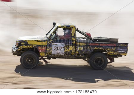 Off-road Truck Competing In A Desert Rally