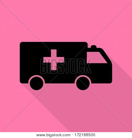 Ambulance sign illustration. Black icon with flat style shadow path on pink background.