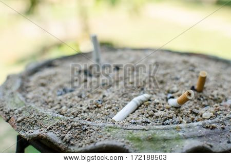 Close up Cigarette disposal. Smoked can kill and cancer.