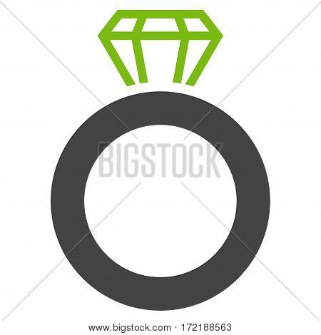 Gem Ring flat icon. Vector bicolor light green and gray symbol. Pictograph is isolated on a white background. Trendy flat style illustration for web site design logo ads apps user interface.