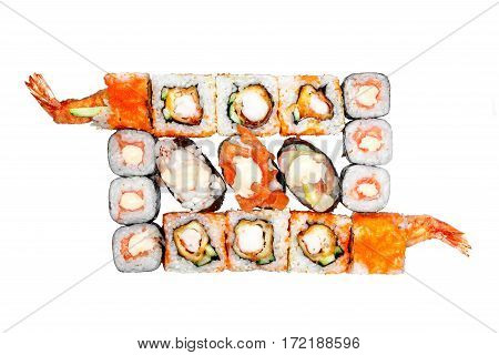 Set rolls and sushi, sushi bass spicy sauce, the sauce spicy eel sushi, salmon sushi spicy sauce on a white background