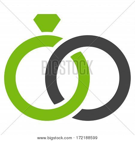 Gem Rings flat icon. Vector bicolor light green and gray symbol. Pictogram is isolated on a white background. Trendy flat style illustration for web site design logo ads apps user interface.