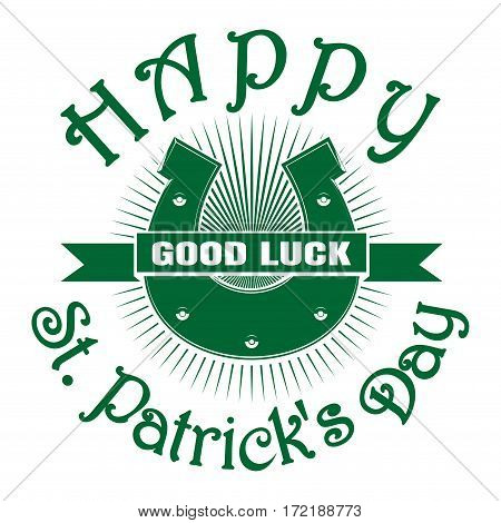 Vintage horseshoe icon. Retro greeting card. Good luck. St. Patrick's Day celebration symbol. Vector illustration