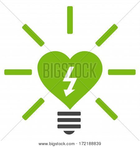 Heart Electric Bulb flat icon. Vector bicolor light green and gray symbol. Pictograph is isolated on a white background. Trendy flat style illustration for web site design logo ads apps