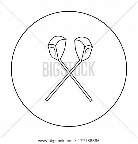 Crossed golf clubs icon in outline style isolated on white background. Golf club symbol vector illustration.