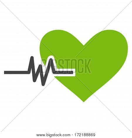 Heart Pulse flat icon. Vector bicolor light green and gray symbol. Pictograph is isolated on a white background. Trendy flat style illustration for web site design logo ads apps user interface.
