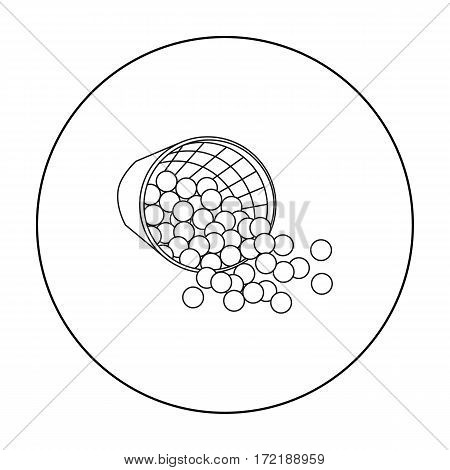 Basket with golf balls icon in outline style isolated on white background. Golf club symbol vector illustration.