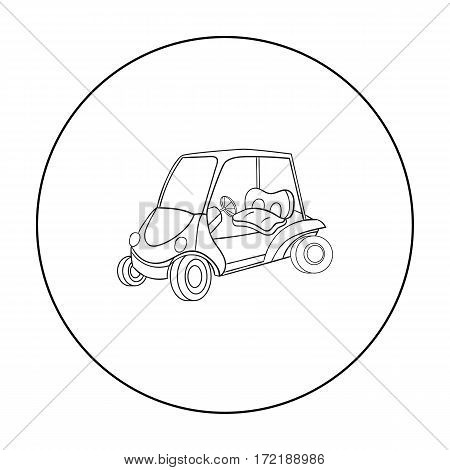 Golf cart icon in outline style isolated on white background. Golf club symbol vector illustration.