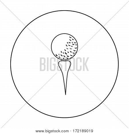 Golf ball on tee icon in outline style isolated on white background. Golf club symbol vector illustration.