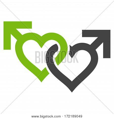 Linked Gay Hearts flat icon. Vector bicolor light green and gray symbol. Pictograph is isolated on a white background. Trendy flat style illustration for web site design logo ads apps