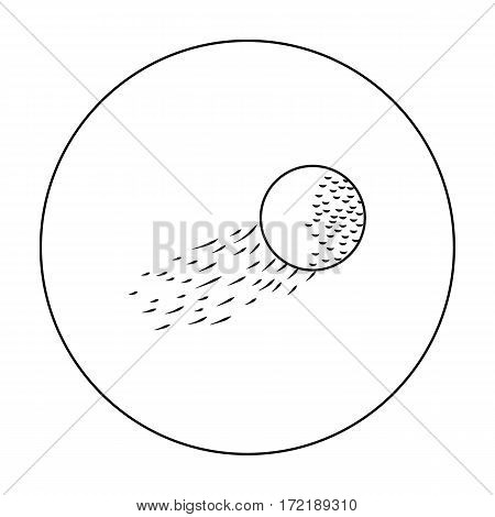 Flying golf ball icon in outline style isolated on white background. Golf club symbol vector illustration.