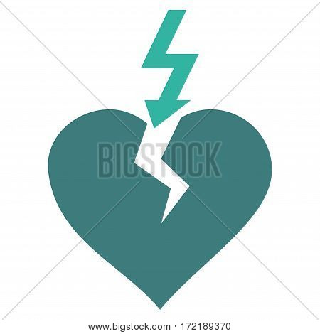 Break Heart flat icon. Vector bicolor cobalt and cyan symbol. Pictogram is isolated on a white background. Trendy flat style illustration for web site design logo ads apps user interface.