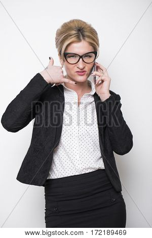 Sign hands call me. Young beautiful secretary showing a gesture to call her