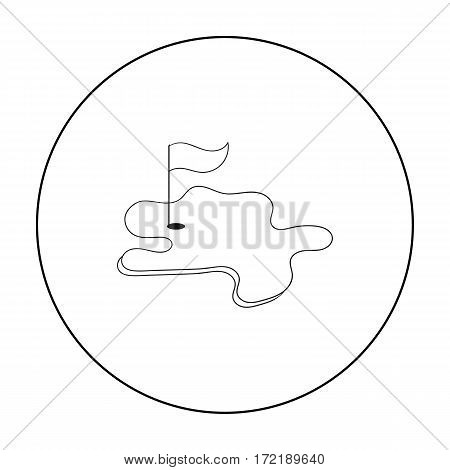 Golf course icon in outline style isolated on white background. Golf club symbol vector illustration.