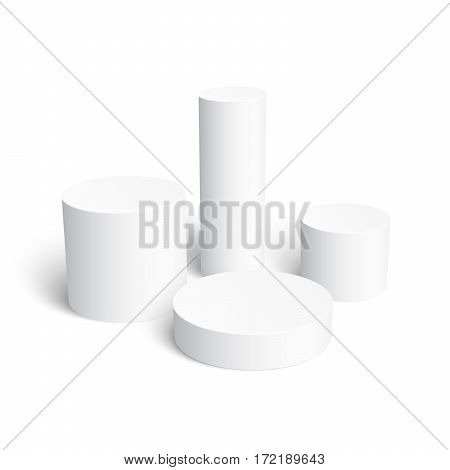 Set of realistic white cylinder isolated on white background. Perfect template for design