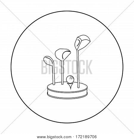 Golf ball and clubs on grass icon in outline style isolated on white background. Golf club symbol vector illustration.