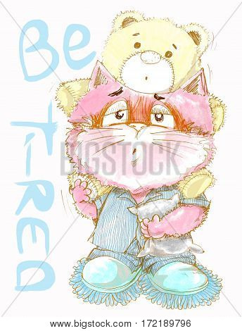 Cute cat be tired want go to sleep acting cat character pencil color draw design sweet color.