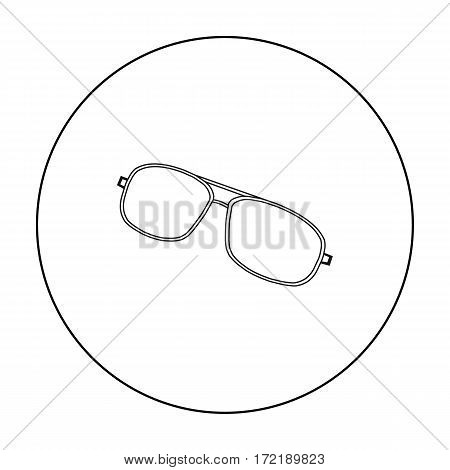 Aviator sunglasses icon in outline style isolated on white background. Golf club symbol vector illustration.