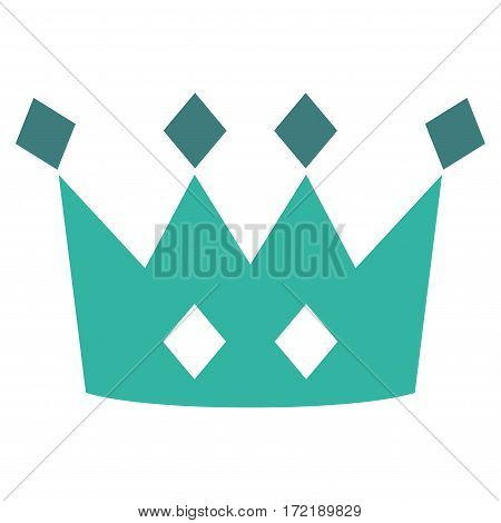 Crown flat icon. Vector bicolor cobalt and cyan symbol. Pictograph is isolated on a white background. Trendy flat style illustration for web site design logo ads apps user interface.
